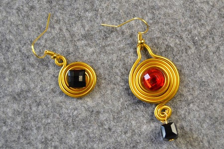 Here Is the Final Look of the Asymmetrical Wire Wrapped Earrings.