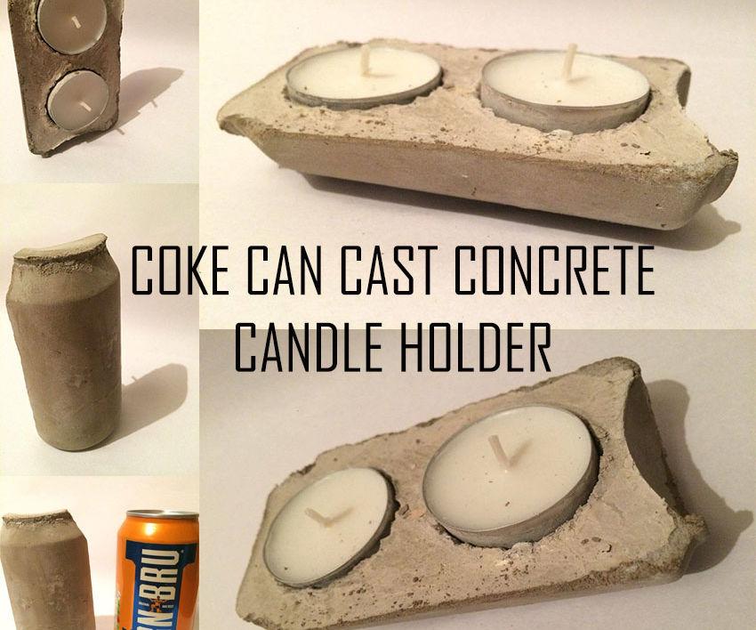 Coke Can Cast Concrete Candle Holder