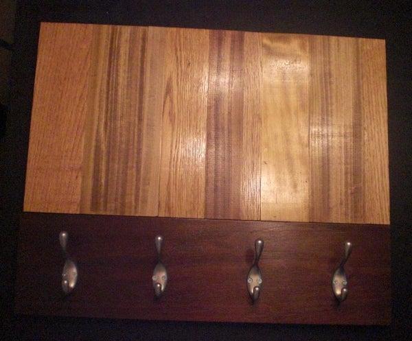 Vertical Reclaimed Wood Contemporary Art Wall Coat Hanger