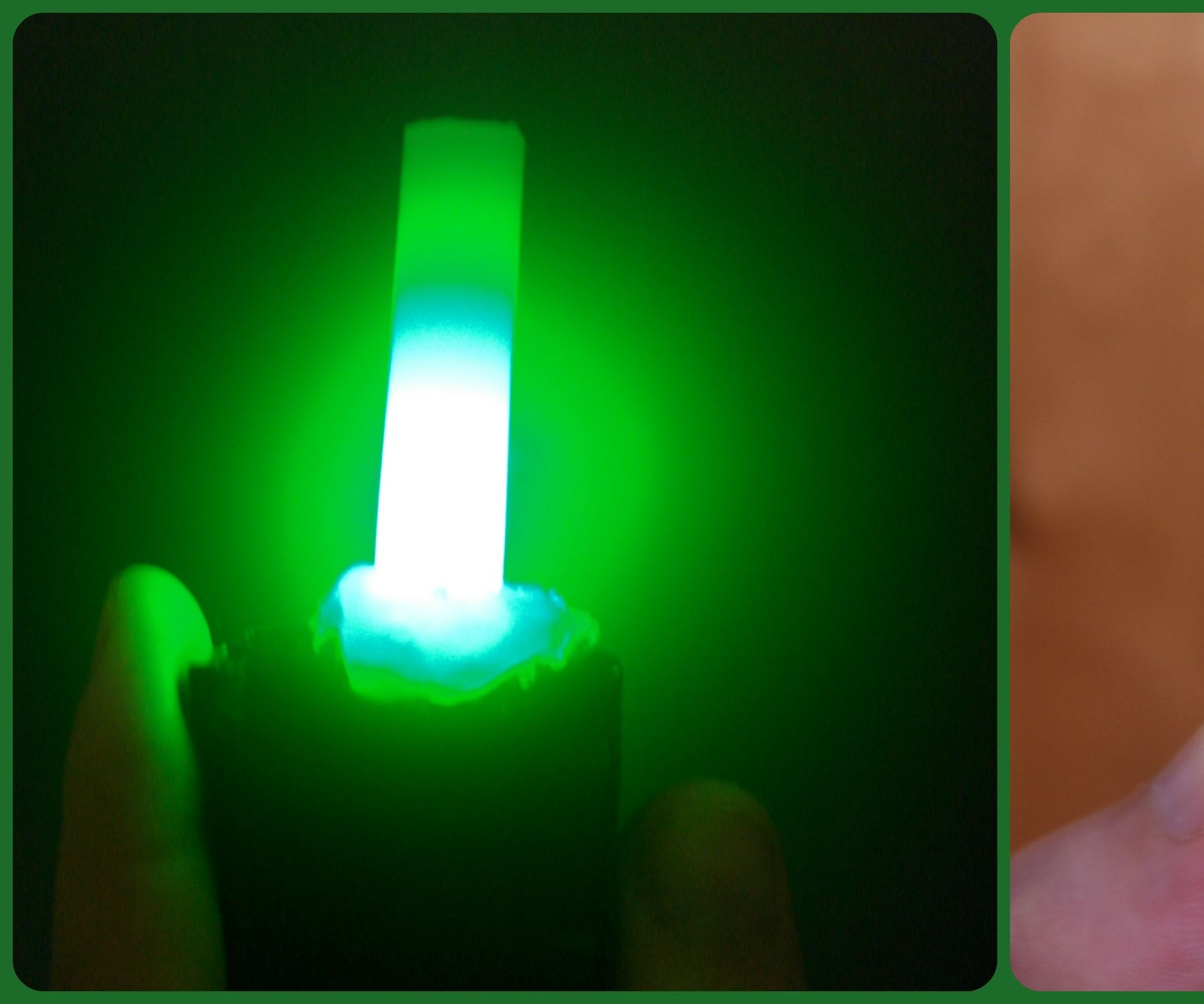 LED light with hot glue