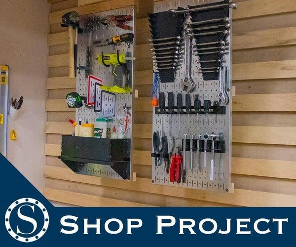 Folding Metal Pegboard Tool Wall