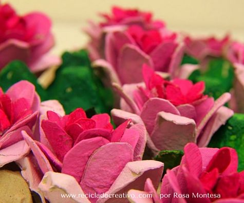 Roses out of egg cartons