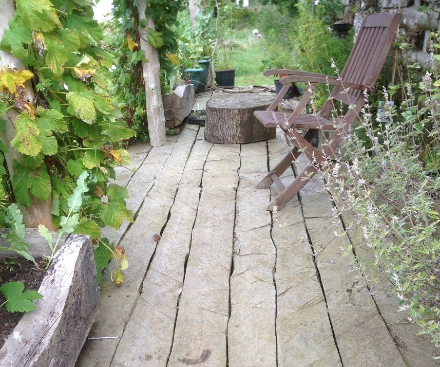 Rustic Decking and Table Top from Tree Trunks