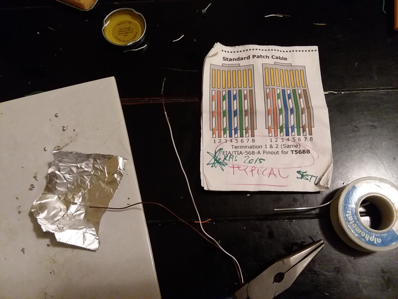 Building the Keyboard Wires - Soldering Copper Wire to Aluminum Foil