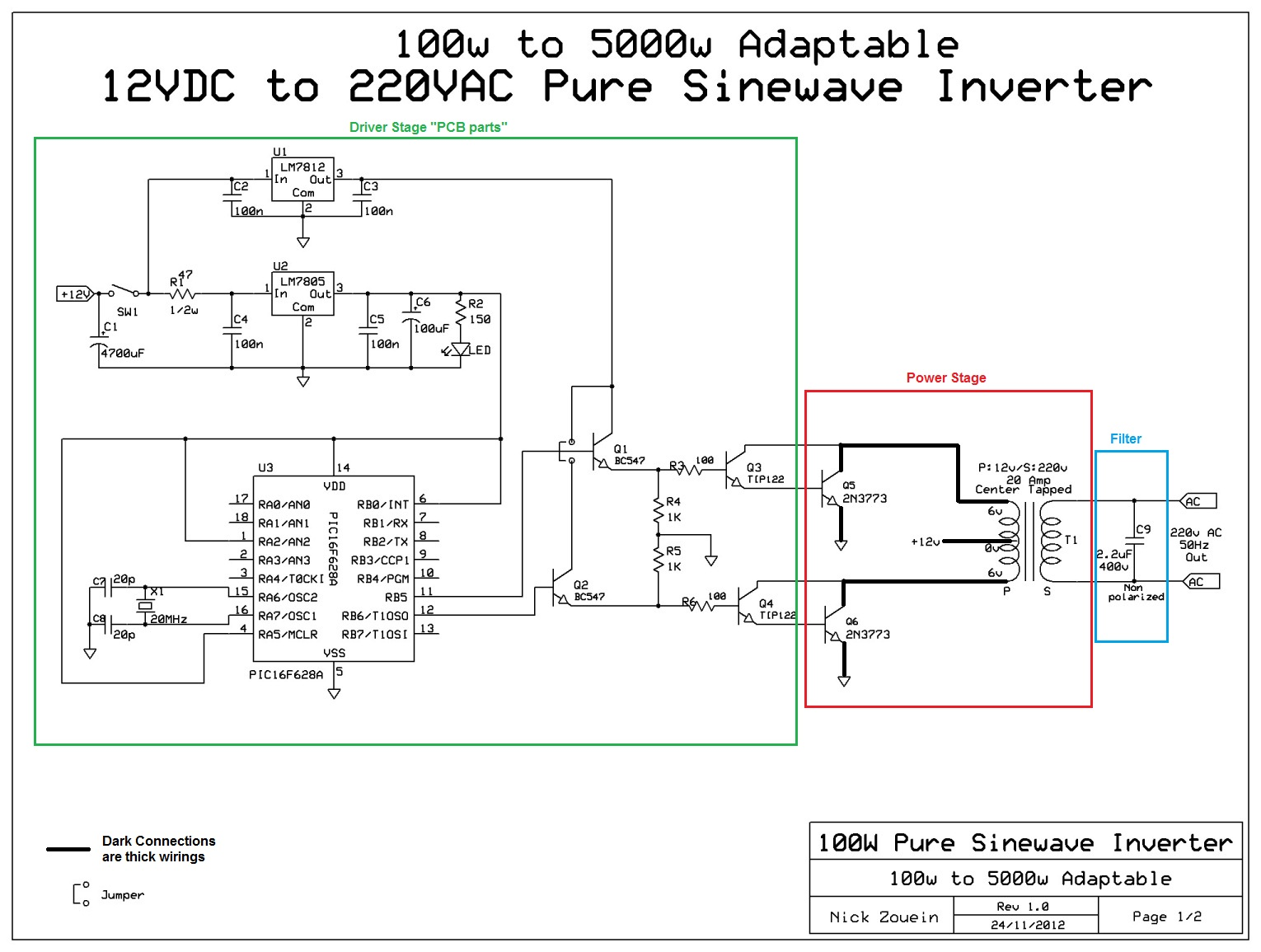 Adaptable 12vDC/220vAC Pure Sinewave Inverter