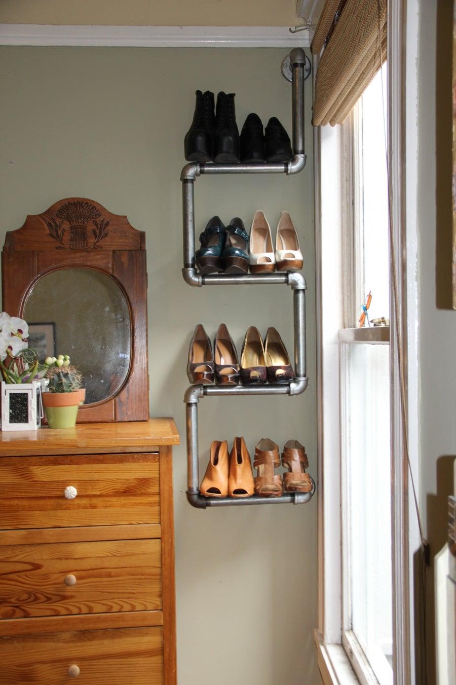 Industrial Pipe Bookshelf and Shoe Rack