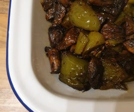 Mushrooms and Peppers Roasted With Herbs and Balsamic Reduction