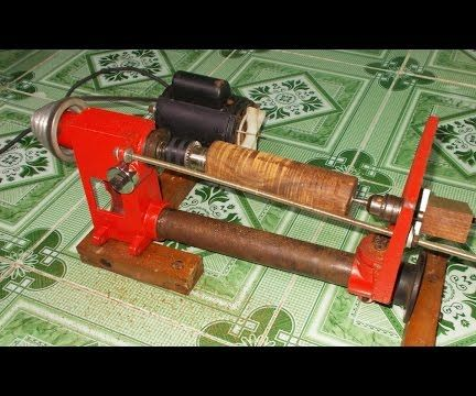 Homemade Wood Mini Lathe with Table Press Drill