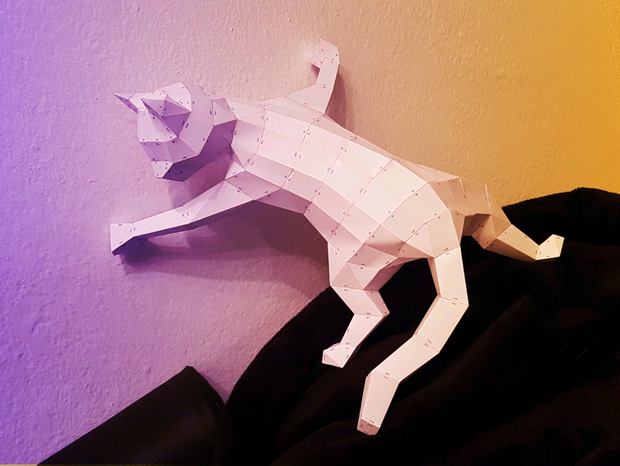 Low Poly Papercraft Katze Mit Pdf