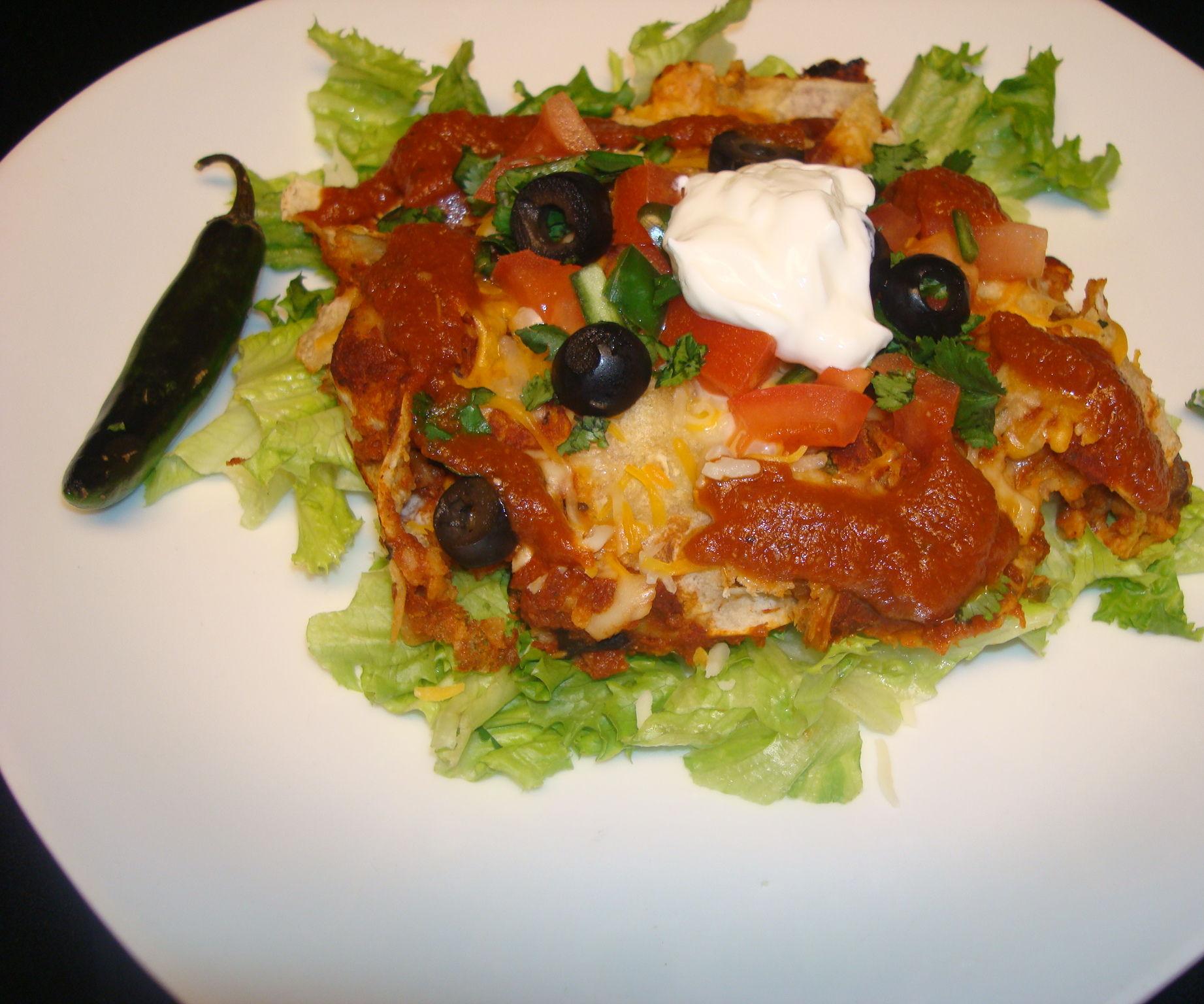 Enchiladas Made with Homemade Enchilada Sauce