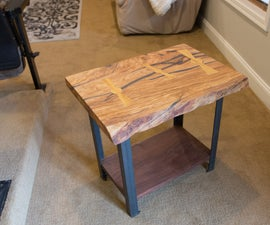 Live Edge End Table W/ Steel Legs