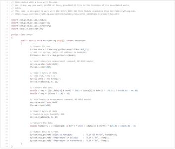 Temperature and Humidity Monitoring Java Code: