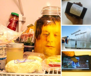 140320 - Head in a Jar Prank, Business Card Printer, Homemade Glass Cleaner