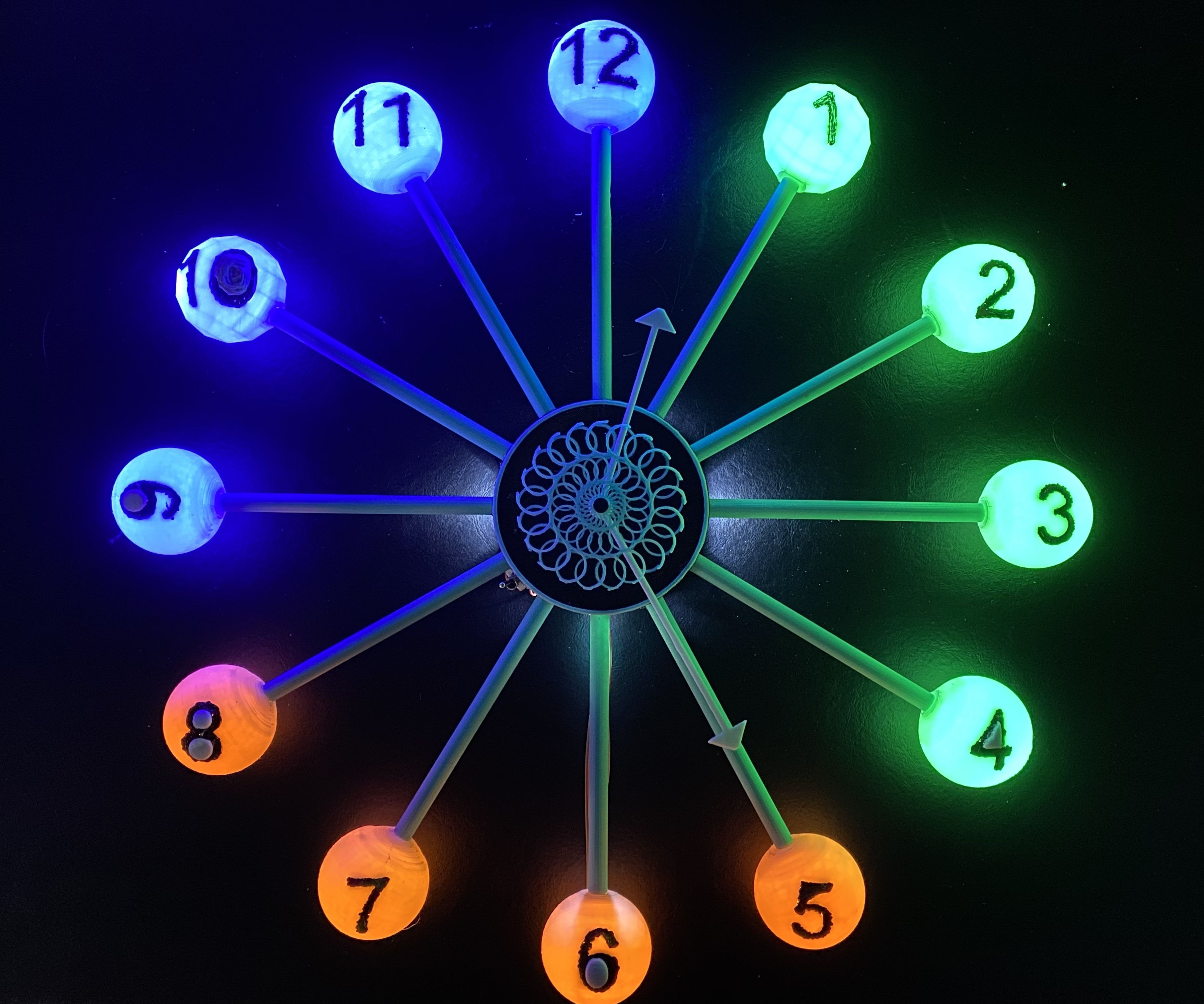 3D Printed Wall Clock With Kinetic Art and LEDs