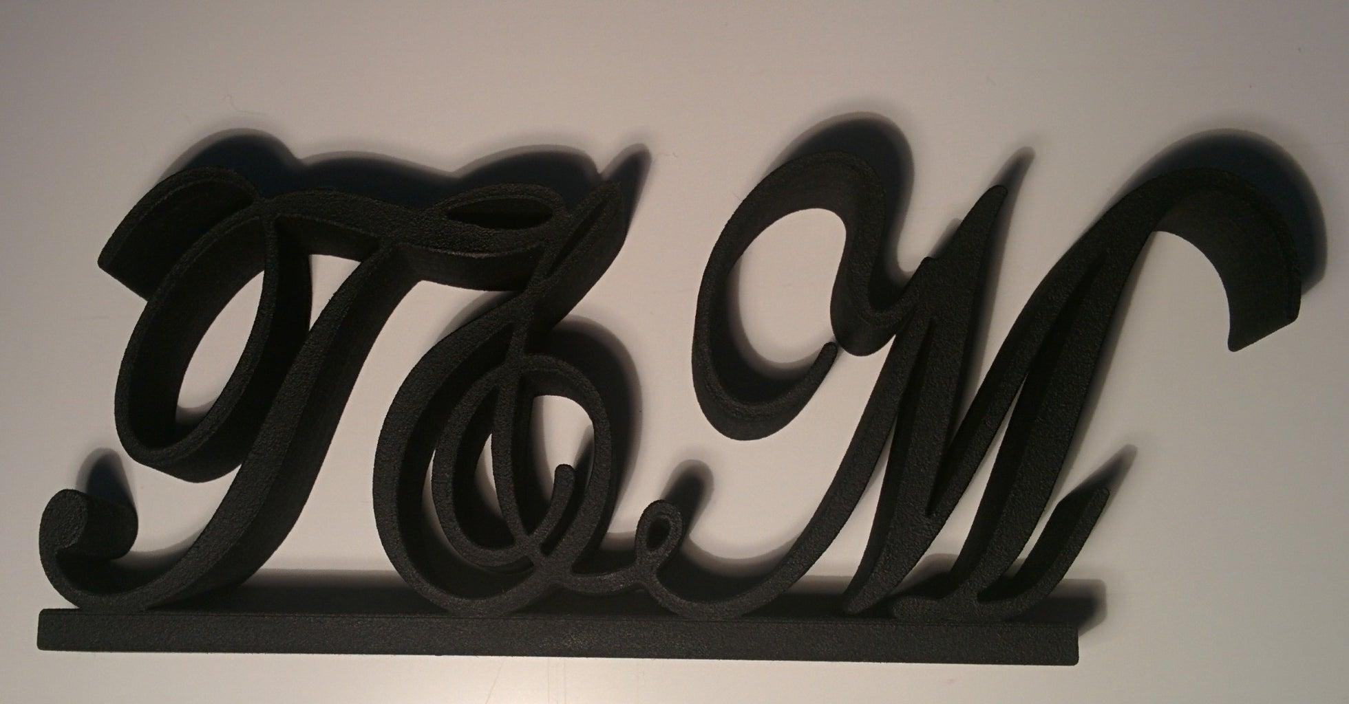 3D Printed Monogram Cake Topper