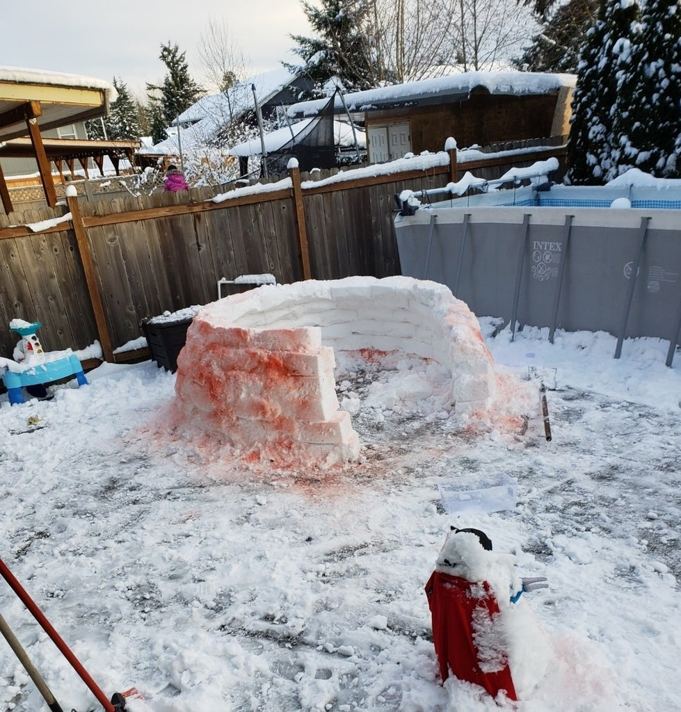 Start by Laying the Horseshoe Shape With the Filled Snow Container.