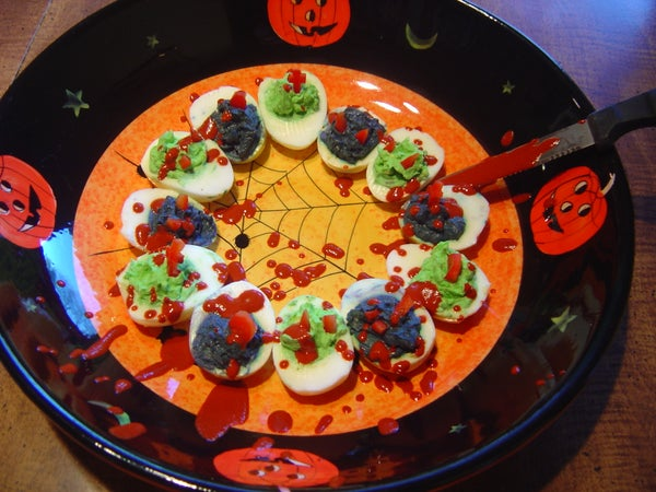 Blood Splattered Extra Satanic Deviled Eggs