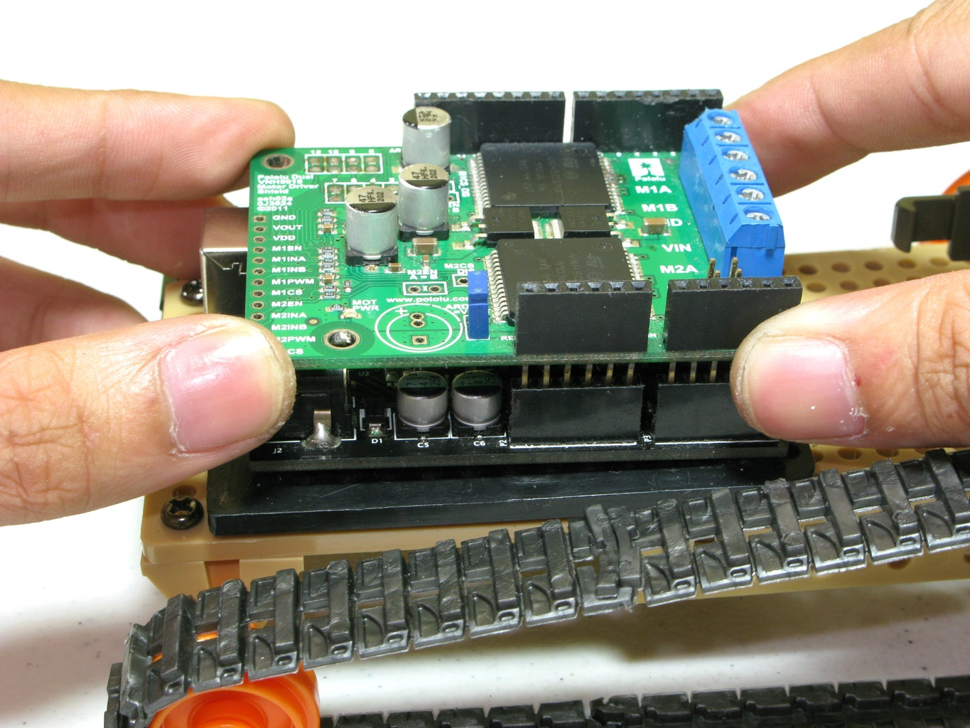 Mount the Arduino & Motor Driver