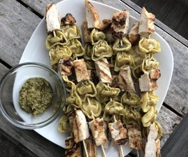 Tortellini Chicken Pesto on a Stick