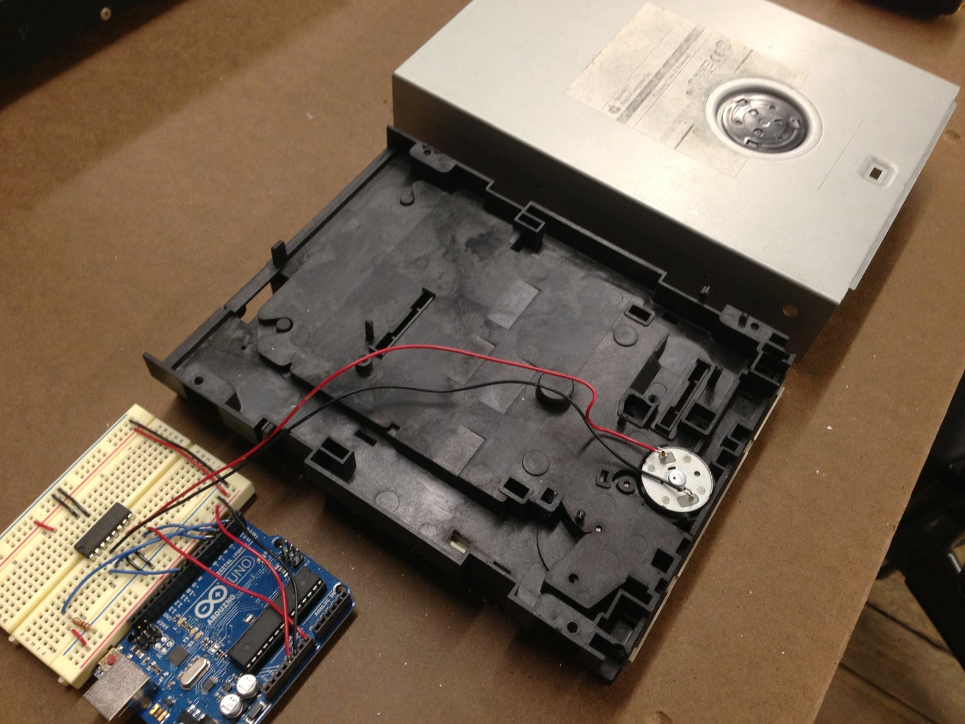 Take Apart the CD-ROM Drive and Solder 2 Cables to the Motor