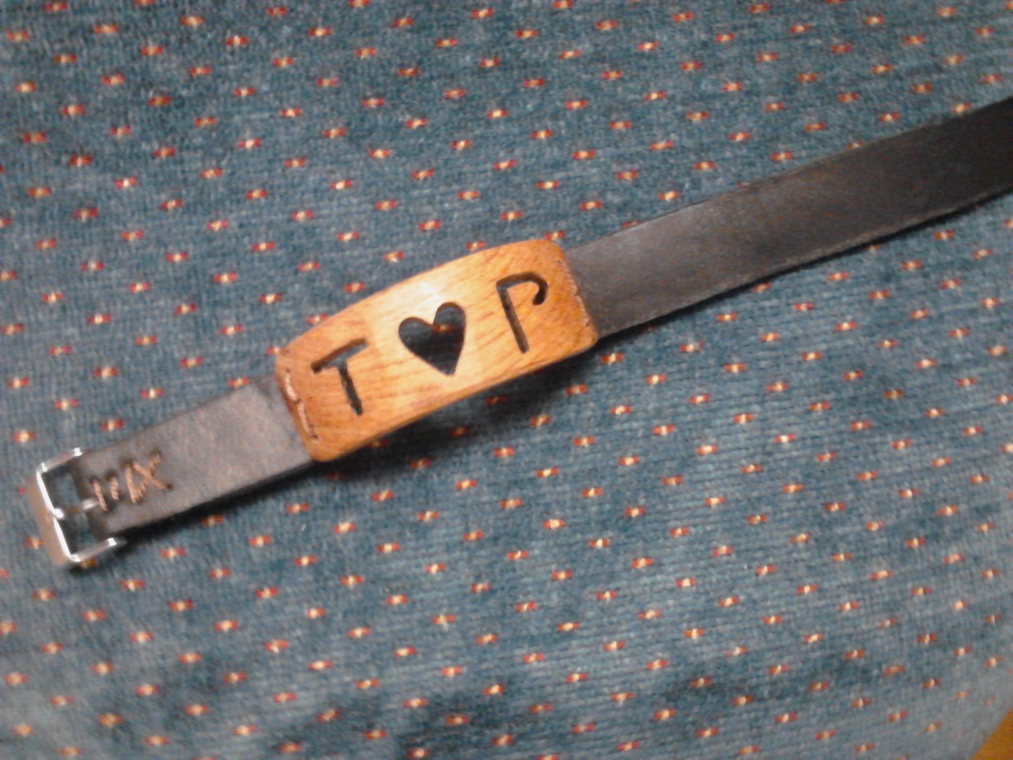 Custom Wood and Leather Name Bracelet