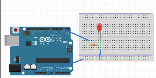 Connect Five LED Circuit (將LED燈的電路接好,接五個)
