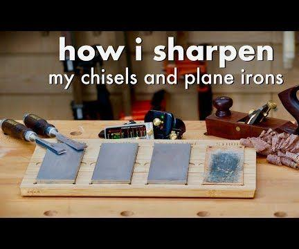 How I Sharpen Chisels and Plane Irons & My Sharpening Station // Woodworking