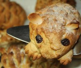 婴儿刺猬早餐或茶点面包-强化面团
