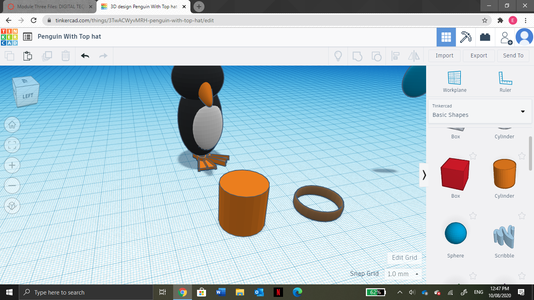 Next, Grab a Ring and a Cylinder From the Shapes Tab.