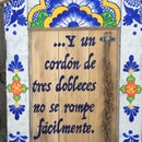 Wedding Braid Talavera Frame From an Antique Door