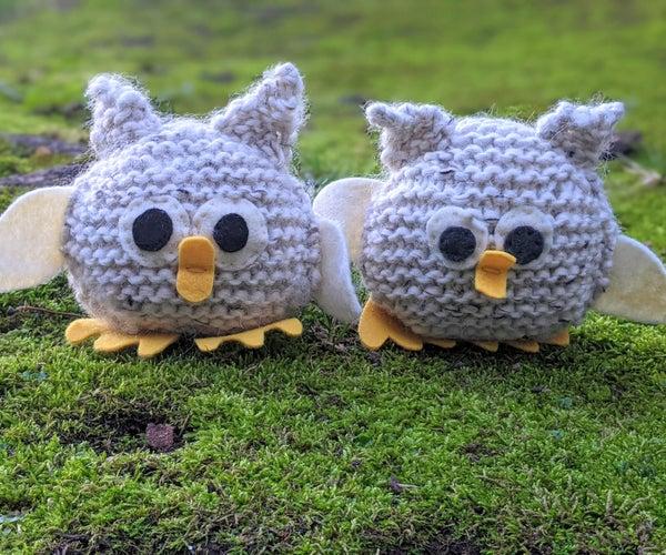 初级友好的针织婴儿猫头鹰Amigurumi