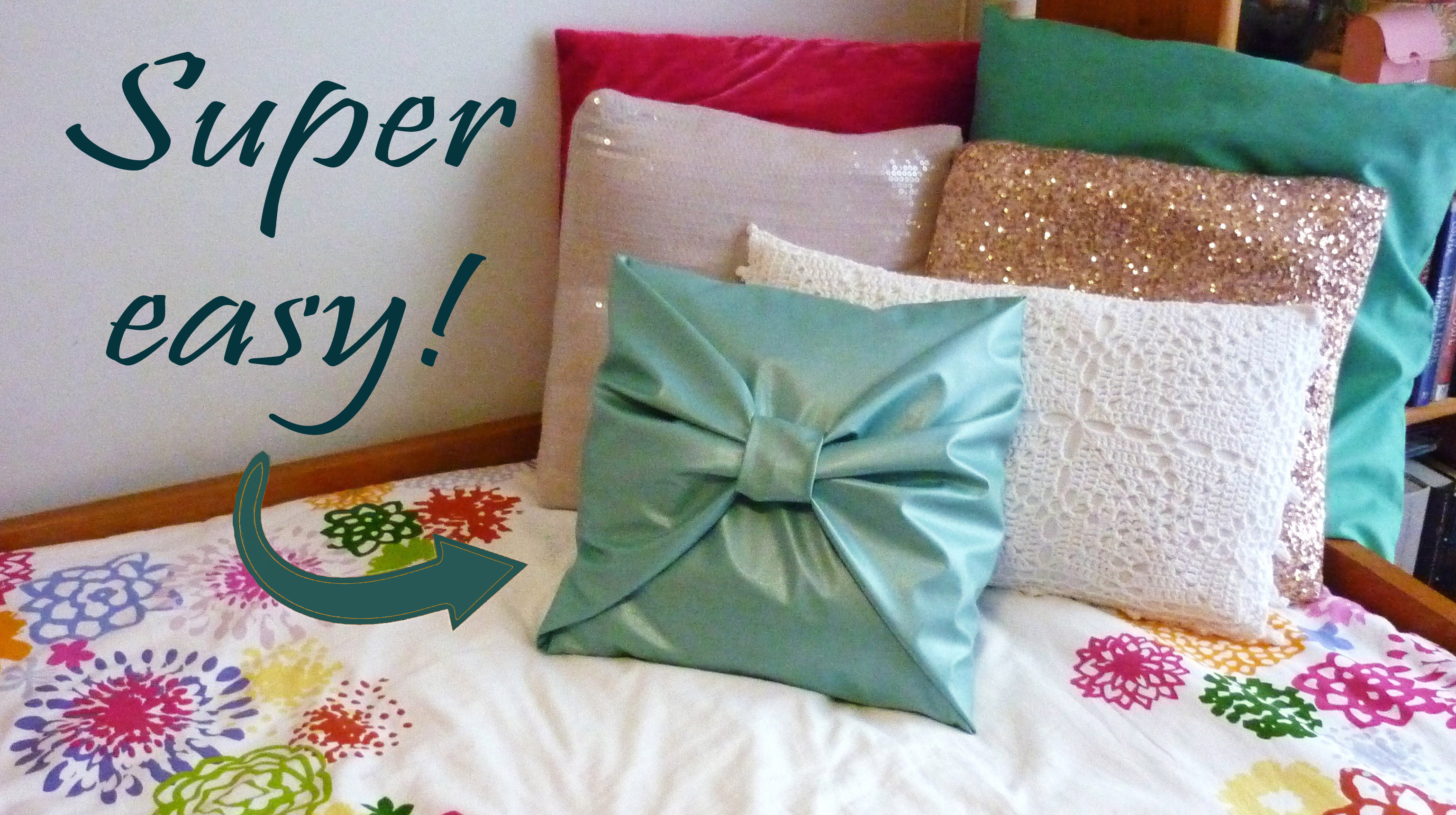 DIY no sew bow pillow cover!