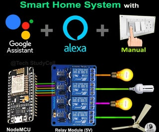 Smart Home With Google Assistant & Alexa Using NodeMCU ESP8266 - IoT Project 2021