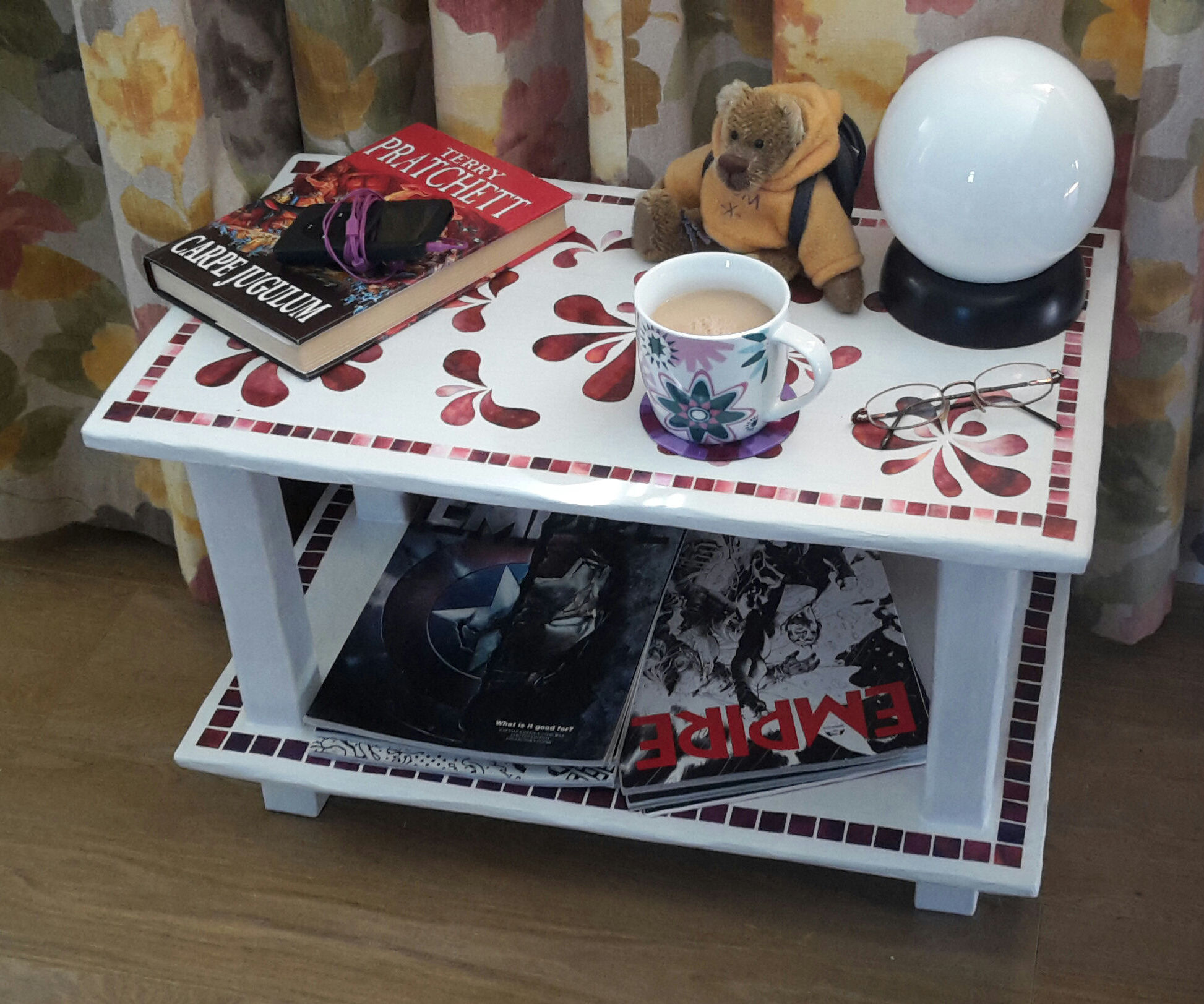Small table made from cardboard, duct tape and papier mache