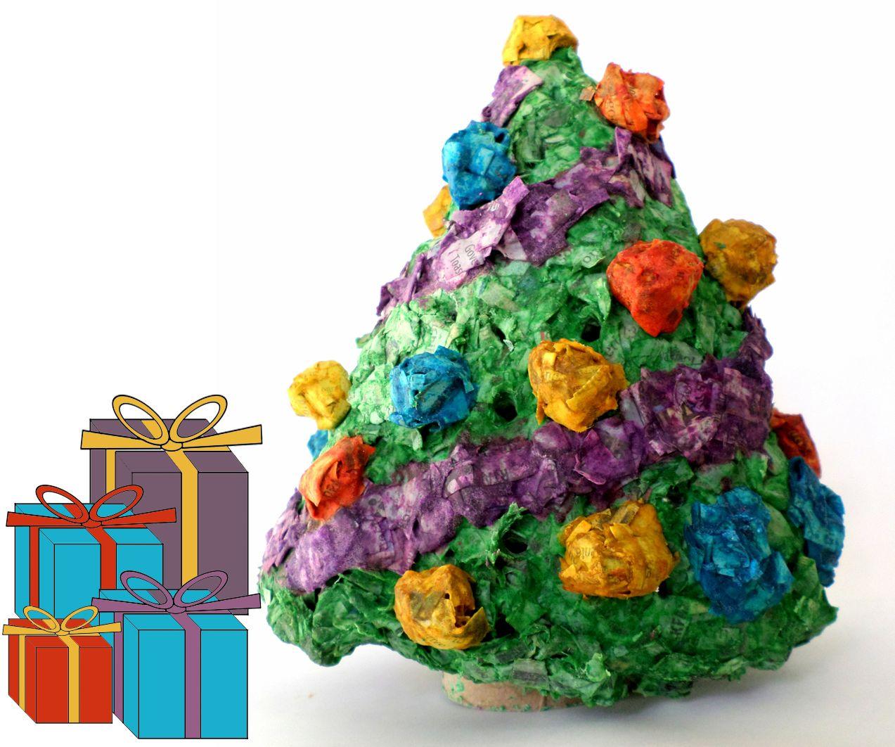 Mini Paper Mache Light-Up Christmas Tree