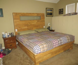 King Size Wood Flooring Platform Bed and Headboard With Built-in Lights and Outlets and Hidden Drawers for $400!