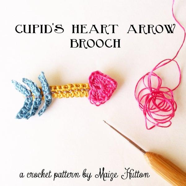 Crochet a Cupid Heart Arrow Brooch