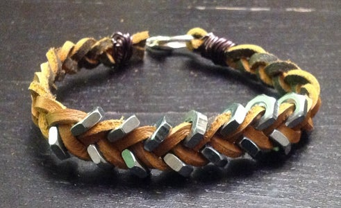Father's Day Leather Boot Lace & Hex Nut Bracelet