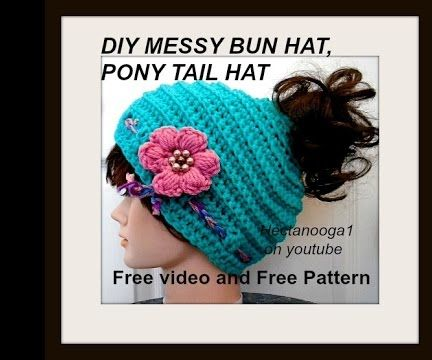crochet hat, messy bun hat, pony tail hat