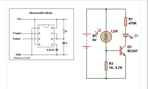 Use Monostable Mode of 555 Timer & LDR Circuit