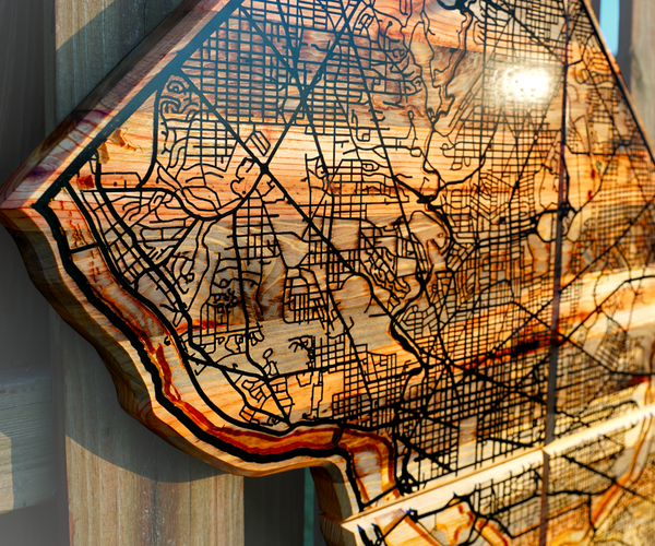 Reclaimed Wall Map With Epoxy Resin River and Road Inlay (Washington, D.C.)