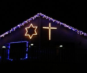 5' 100 Light LED Wooden Cross Christmas Decoration