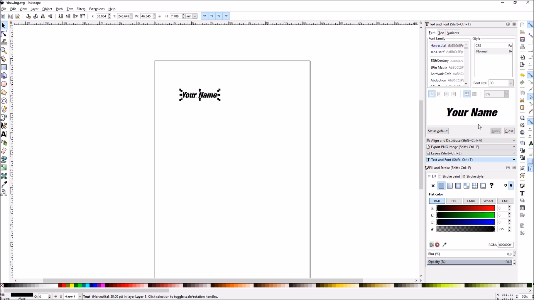 Inkscape - Draw Your Text