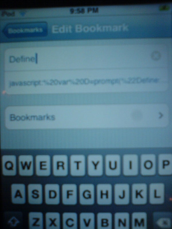 Javascript Bookmarks, for Iphones/Ipod Touches