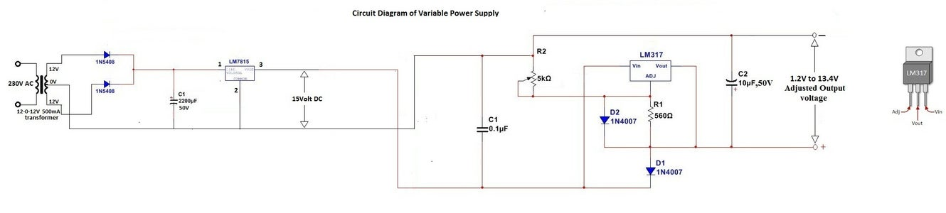 Schematic Diagram of Variable Power Supply