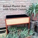 Mobile+Raised Metal+Wood Planter Box