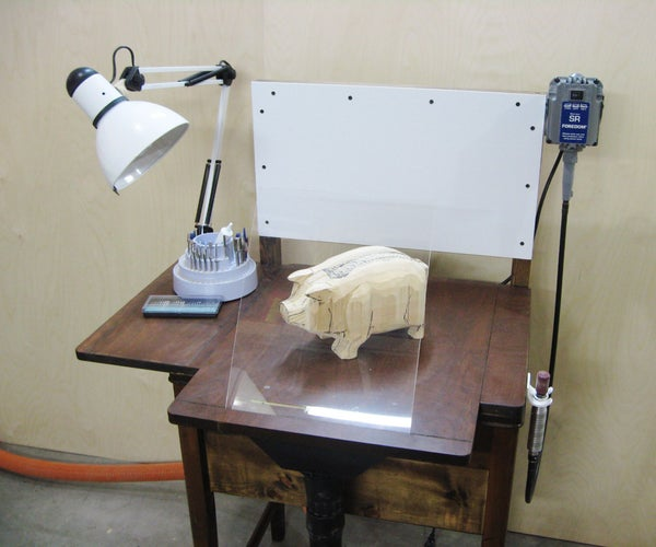 Wood Carving Station From Old Sewing Table