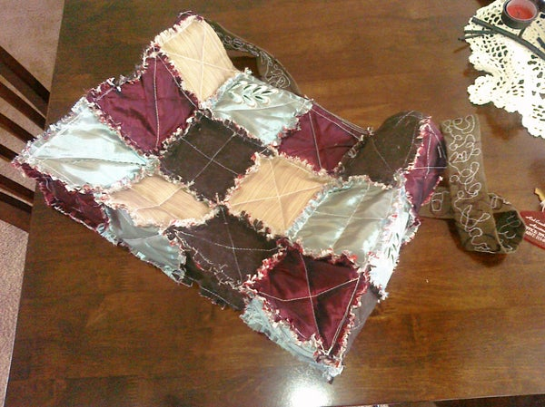 Cute Reversible Rag Quilt Tote Bag