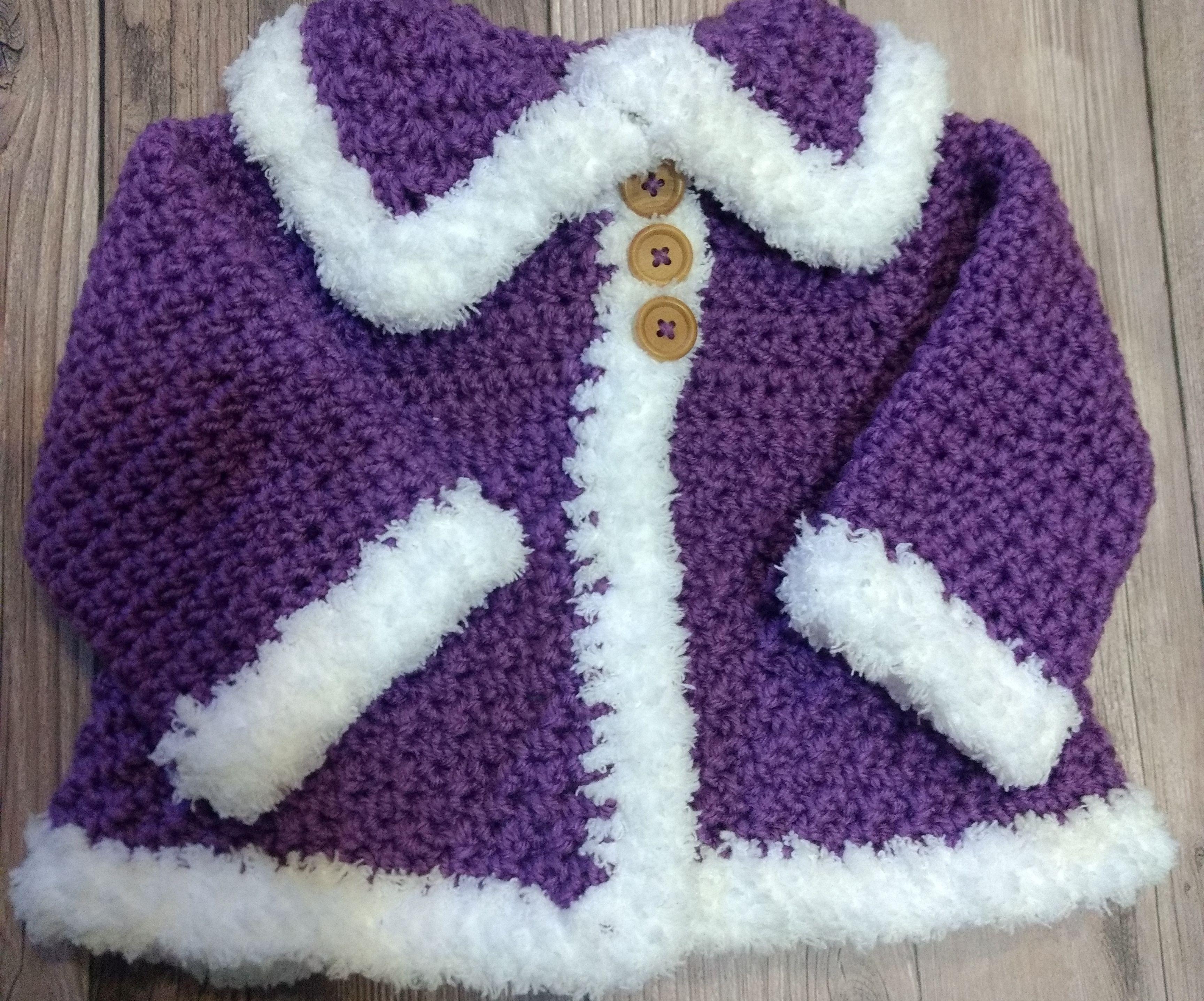 Crochet 6-9 Month Baby Sweater + Booties