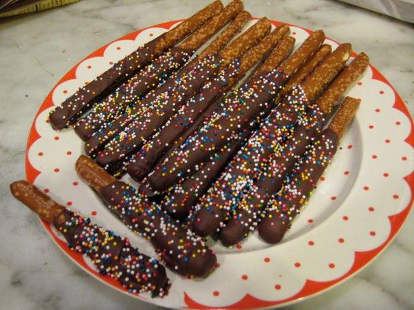 Holiday Chocolate Covered Pretzel Sticks